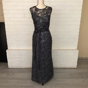 Betsy & Adam sequin and lace ankle length gown